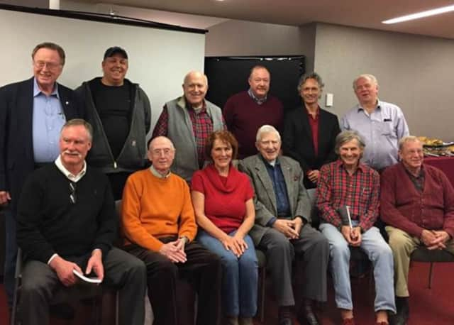 Fordham University writing workshop participants, back, from left, George Kelly, Matt Phair, Peter Stone, Scott McGuirk, David Surface, Randy Swan. Front, from left, Robert Davan, Bill Greenhut, Karen Bauer, Jim Nolan, Rod Carlson, Nick Lamonica.