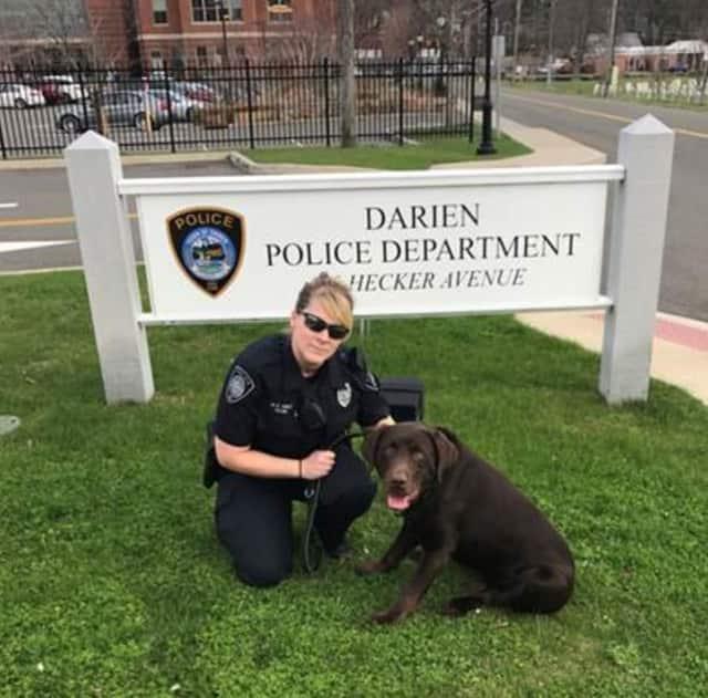 Darien Police Officer Leslie Silva with K-9 Koda.