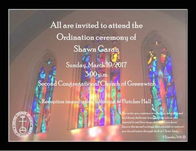 Second Congregational Church of Greenwich is set to host Shawn Garan's ordination service.