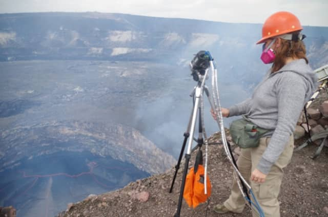 Volcanologist Einat Lev can stand the heat. Courtesy Bruce Museum.