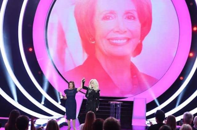 House Speaker Nancy Pelosi with Cher, who presented her with a VH1 Trailblazer Award.