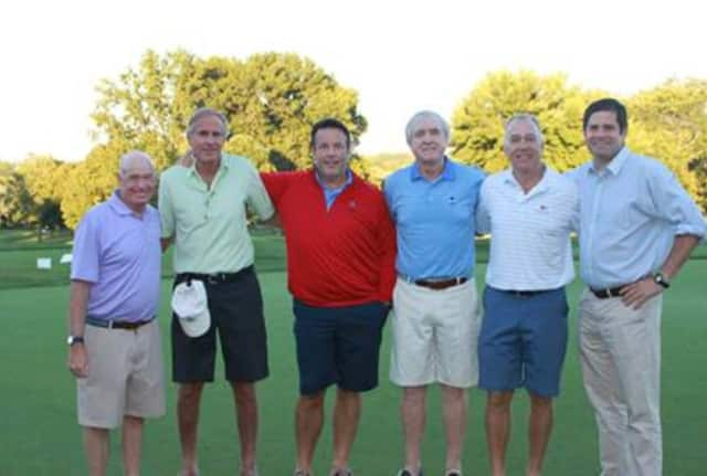From left: FCA President & CEO Robert F. Cashel, Golf Classic Co-Chairs Bill Webster, Jamie Bergin, Peter Murphy and Mark Brown, and Jimmy Murphy, representing his father, William O. Murphy, who was honorary chair.