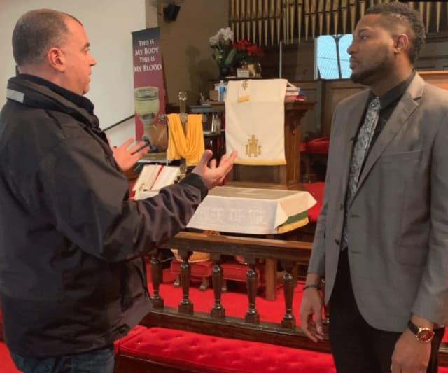 Scott Appleby, Bridgeport's director of Emergency Management & Homeland Security and the Rev. Dr. Herron Keyon Gaston, pastor, Summerfield United Methodist Church in Bridgeport.