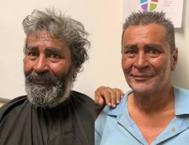 A before-and-after photo of Jose Lopez, a homeless man who had not seen his family in nearly a quarter-century.