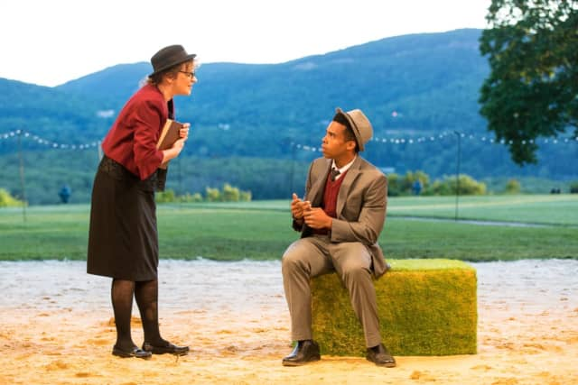 Nance Williamson and Ralph Adriel Johnson in HVSF's 2018 Production of 'The Taming of the Shrew.'.