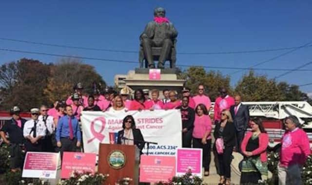 Bridgeport officials were in the pink Wednesday to kick off this weekend's Making Strides Against Breast Cancer Walk at Seaside Park.