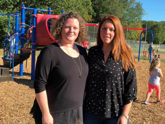Sunnyside Elementary School PTO President Jessica Scerbo and member Katie Dansereau spearheaded the playground plan.