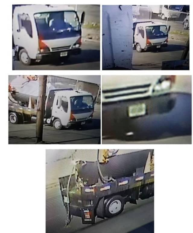 Surveillance camera images of a truck that deposited a miles-long slick of vegetable oil in Newark Oct. 15