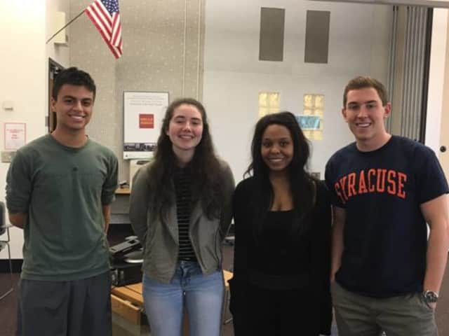 Fairfield Ludlowe High School's winning Business Challenge team members included (left to right) Brandon Corrales, Delia Murphy, Sydney Sims, Grant Caremark.