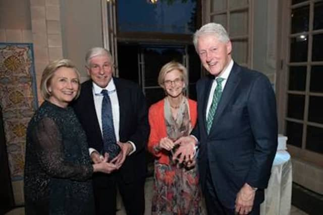 Hillary Clinton; George Gumina, Friends of the Rockefeller State Park Preserve founder and president; Dr. Lucy Rockefeller Waletzky, chair of the state Council of Parks, Recreation and Historic Preservation and former President Bill Clinton