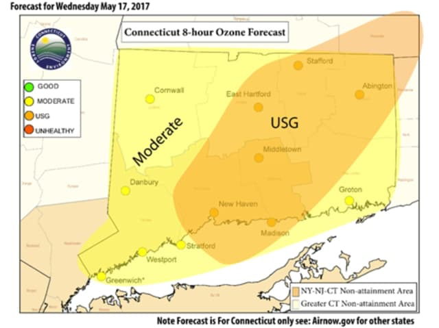 The ozone forecast for Wednesday from the Connecticut Department of Energy and Environmental Protection, showing that some areas could have unhealthy air quality conditions.