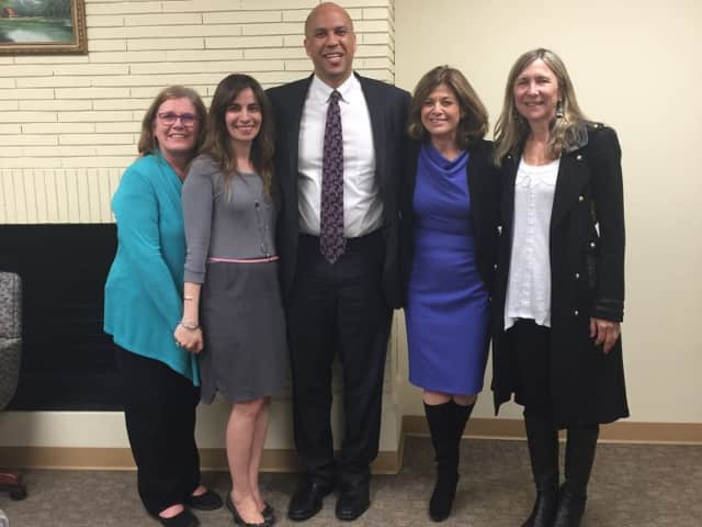 (l. to r.): YWCA Bergen County Communications Manager Marge DiStefano; YWCA Bergen County CEO Helen Archontou, Booker, Marie DeNoia Aronsohn, YWCA Bergen County fund development and communications director, Christine Ordway, YWCA Bergen County Board