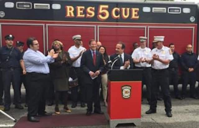 Bridgeport Mayor Joe Ganim announces the FEMA funds on Friday.