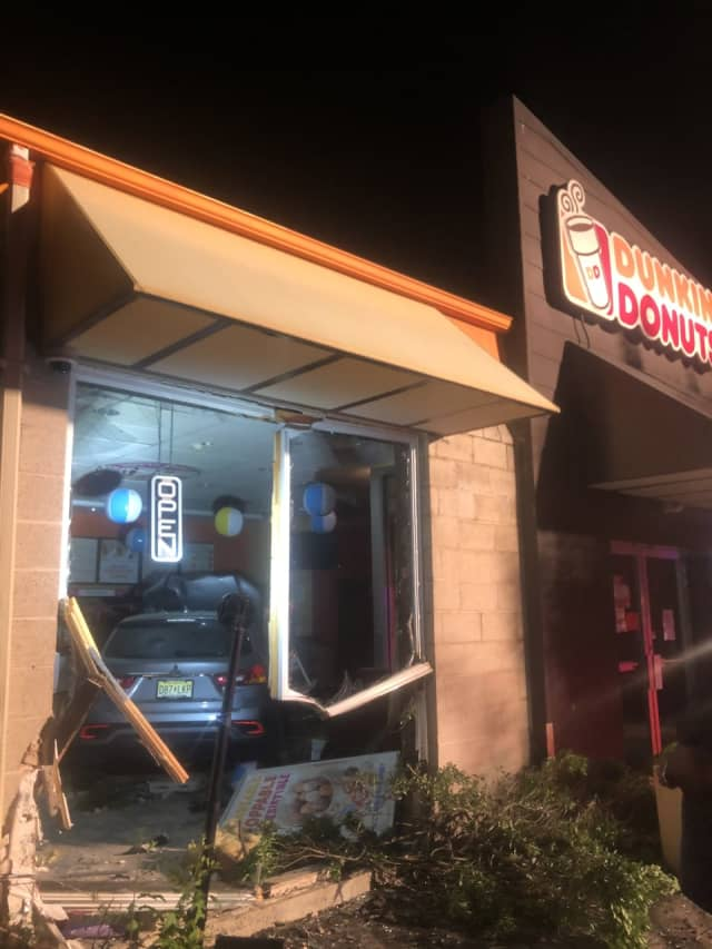 An SUV slammed into the front of a Dunkin' Donuts on Route 35 in the Laurence Harbor section of Old Bridge. Photo Courtesy of (IG - ryanhalasz)