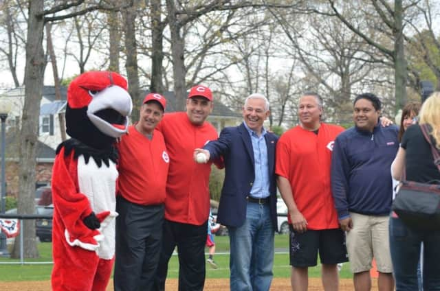 Bobby Valentine joined Englewood Cliffs Little League for opening day.