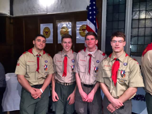 New Eagle Scouts are:  Gregory Alfieri of Hawthorne, Joseph Andrews of Thornwood, Gregory May of Pleasantville and Alexander Warne of Valhalla. They were honored at ceremonies in Pleasantville Friday.