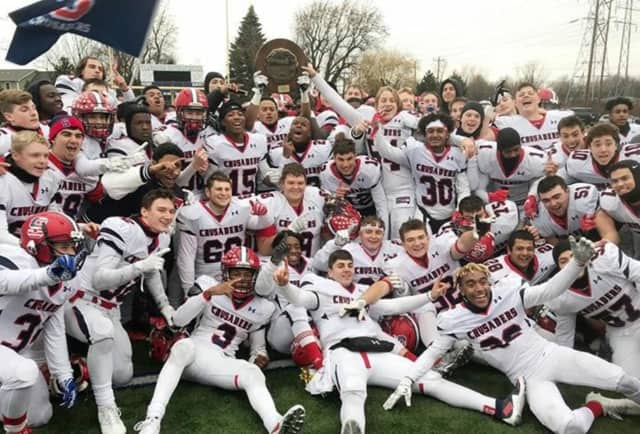The Stepinac Crusaders football team won its second state title in four years on Nov. 25 in West Seneca, N.Y.