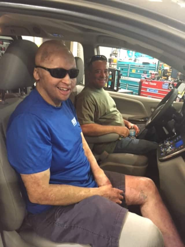 Staff Sgt. Joel Tavera, U.S. Army is shown in a wheelchair accessible minivan Our Military Heroes in Easton provides to veterans that are wounded.