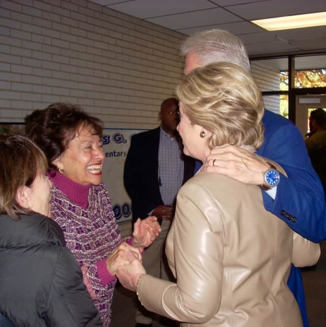 U.S. Rep. Nita Lowey, left, shares a laugh with Democratic presidential candidate Hillary Clinton on Tuesday morning as the Clintons cast their votes in their hometown of Chappaqua.