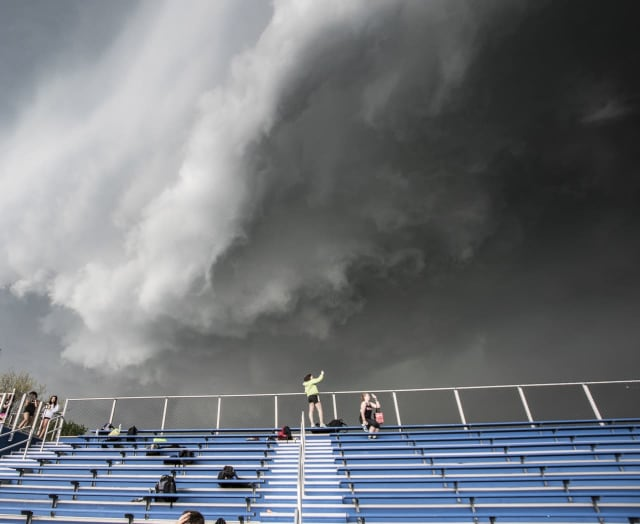 Fairfield Ludlowe High School during the arrival of Tuesday's line of severe storms.