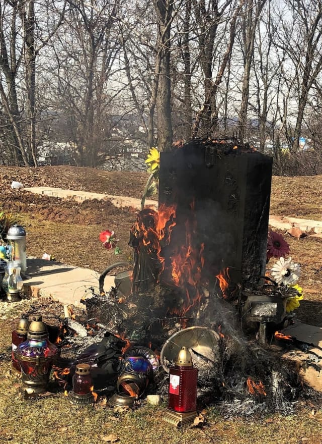 Saddle Brook firefighters and maintenance workers at St. Mary's Cemetery doused the blaze.