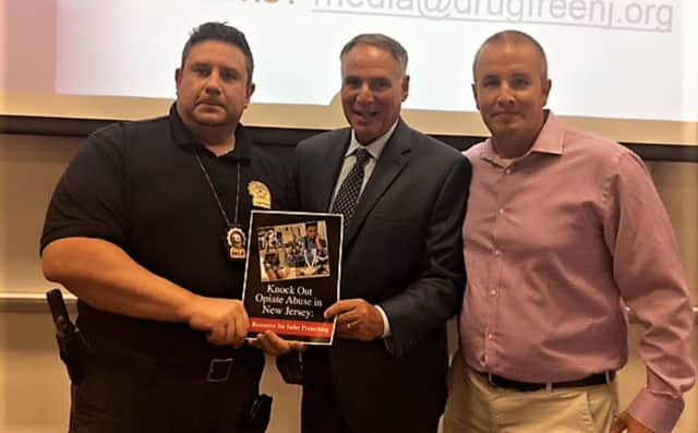 (l. to r.): Capt. Martin Gray, Angelo Valente (CEO of the Partnership for a Drug-Free New Jersey), Officer Jeff Stewart
