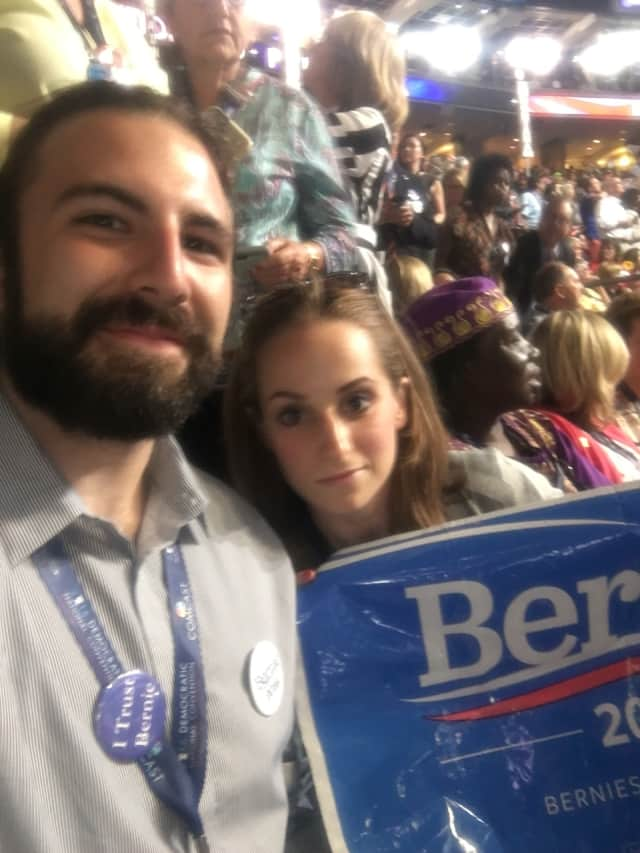 Connecticut delegates Chris Yerinides and Nina Sherwood pose for a photo at the Democratic National Convention in Philadelphia Tuesday.