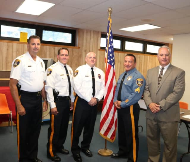 Left to right: Police Chief Robert Kugler, Capt. John Zotollo Jr., Lt. Leigh Cadigan, Sgt. Guiseppe Califano, Mayor Robert White.