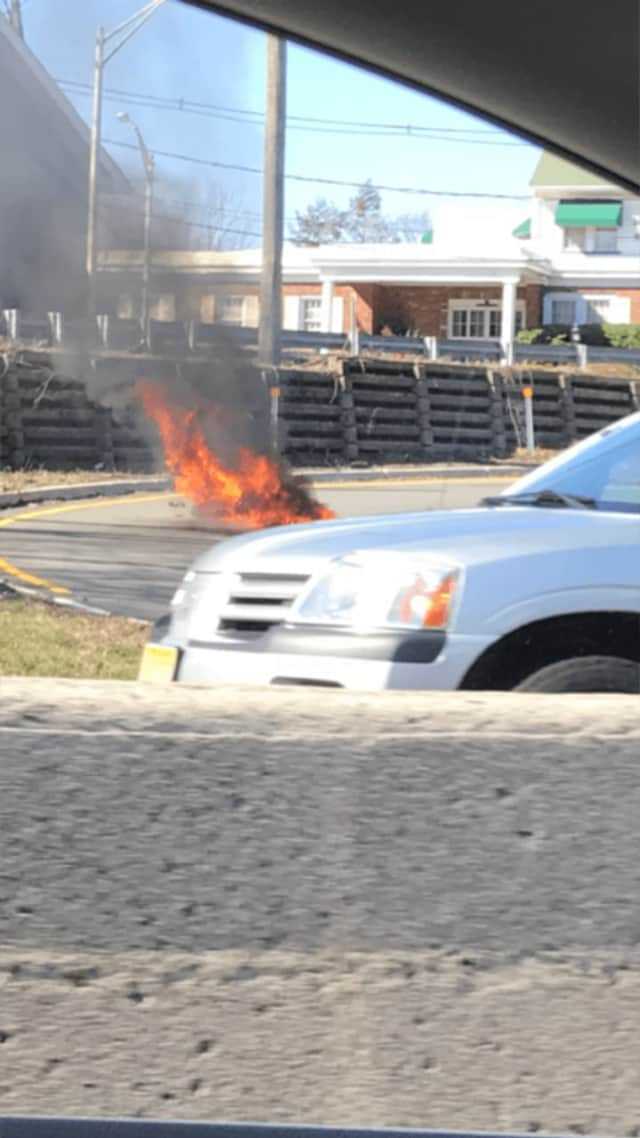 A motorcycle caught fire in Paramus.
