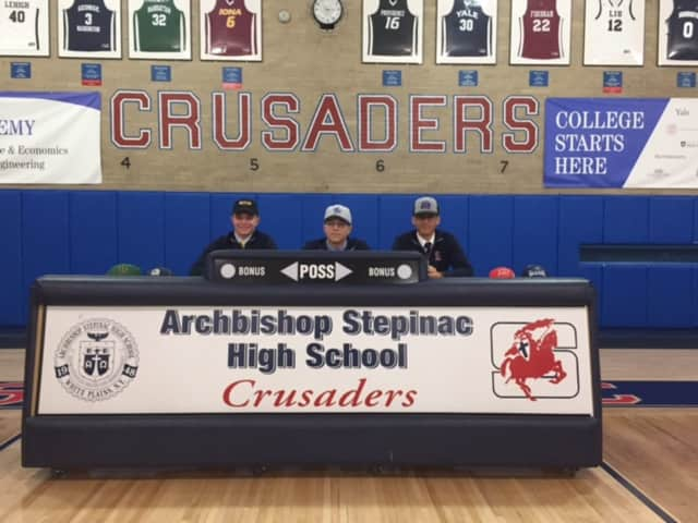 Archbishop Stepinac's college baseball prospects Tim O'Connor,  Mattingly Simaan and Jaiden Bonet have announce their college choices.