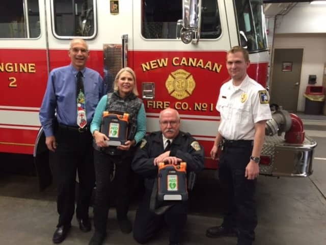 Norwalk Hospital recently donated two automated external defibrillators (AEDs) to the New Canaan Fire Department and one to St. Aloysius Church in New Canaan.
