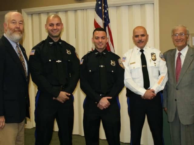 From left: Councilman Greg Evanella (police liaison), Officer James LaVigna, Officer Michael Getto, Police Chief Albert Maalouf, Mayor Paul Hoelscher