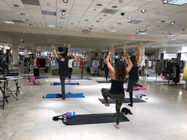 Lori Laub puts attendees through their paces at Neiman Marcus Westchester.