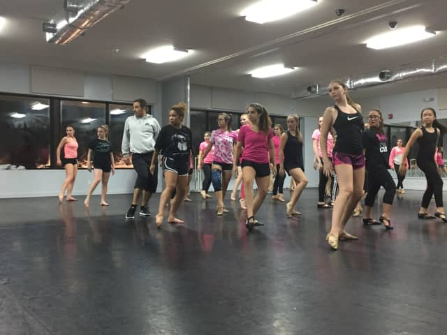 Broadway veteran Scott Fowler works with dancers in master class at Brewster dance studio.