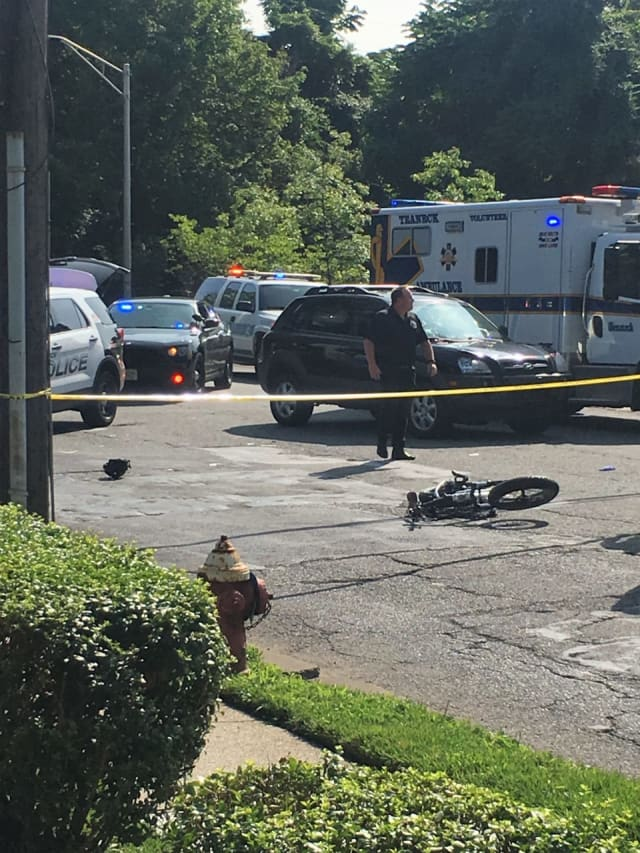 The scene outside FDU at River Road and Cornwall Avenue in Teaneck shortly after the SUV struck the bicyclist on Tuesday.
