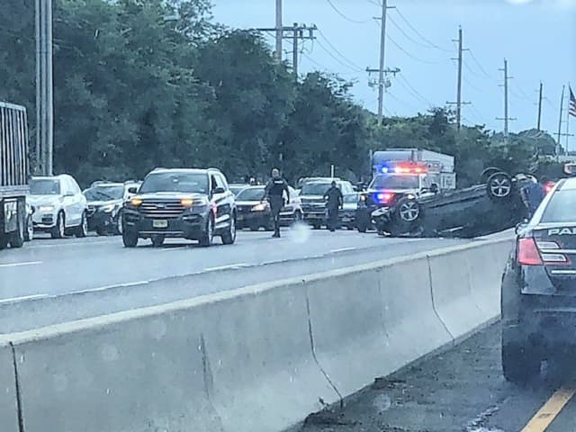 Rollover jams Route 17 in Paramus