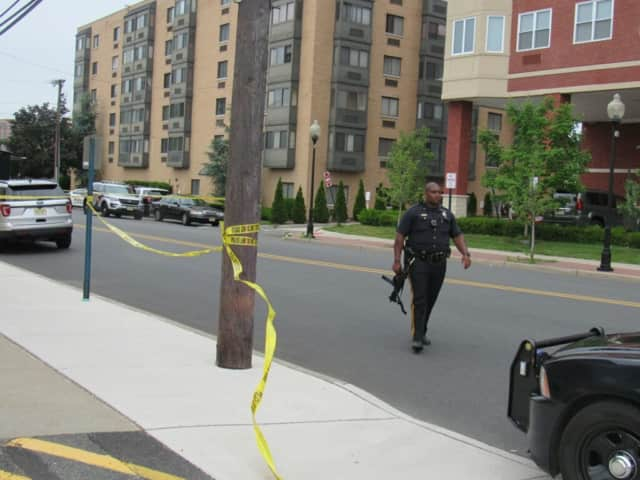 A Hackensack police officer at the crime scene.