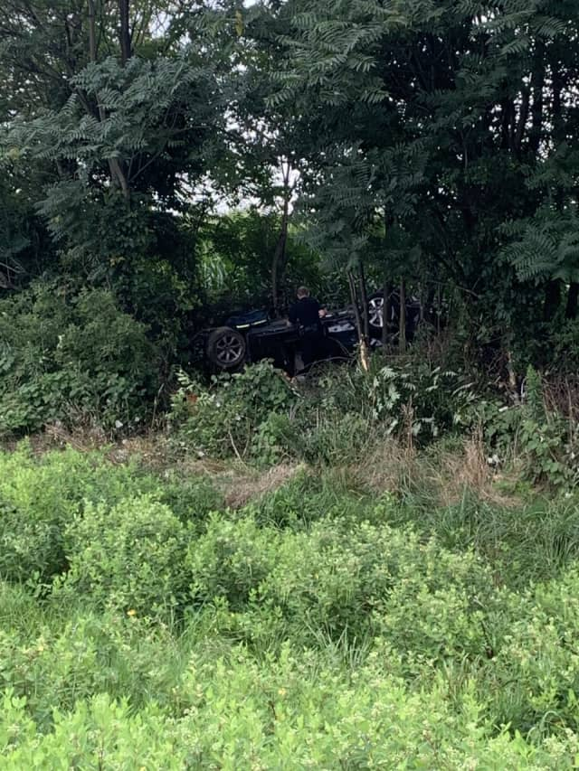 Albina Ahiskali's car in the woods in West Earl Township off Route 222 northbound.