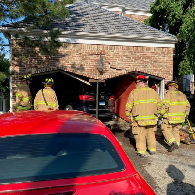 Firefighters responded to a vehicle that had collided into a house on Ocean Drive North in the Shippan neighborhood of Stamford.