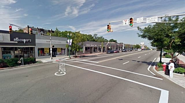 intersection of Garrison Avenue with the four-lane Cedar Lane, in Teaneck