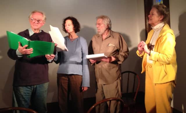 """Rehearsing for """"A Nation Once Again."""" from left, writer/director Neil Hickey, narrators Caitlin O'Heaney and Paul Savior, and producer Kate Hoekstra."""
