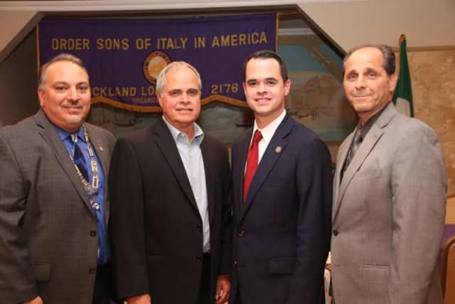 Attendees at the event included, from left, Greg DeCola, President, Richard Carlucci, Sen. David Carlucci and Robert Ferrito, New York State 1st Vice President, Grand Lodge of Sons of Italy.