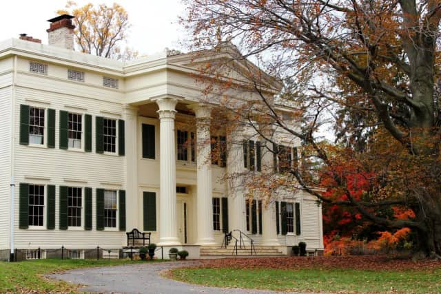 """The property's """"declared landmarks"""" at Jay Heritage include a house for indoor tennis, carriage house, and the Peter Augustus Jay Mansion."""