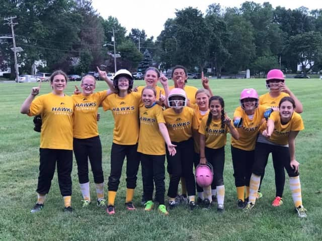 The Oradell Hawks after winning their championship softball game.
