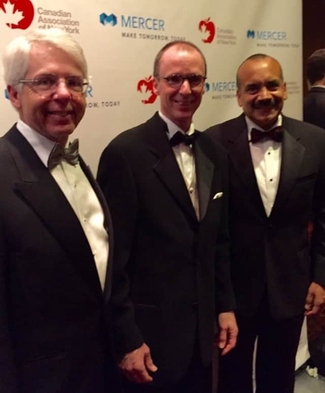 From left, Dean Connor, president and chief executive officer of Sun Life Financial; Jacques Goulet, president of Retirement, Health, and Benefits, Mercer; and Julio A. Portalatin, president and chief executive officer of Mercer.