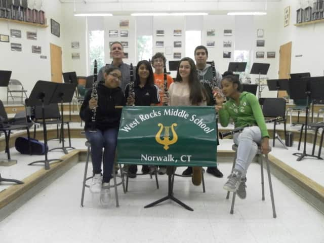 Jeff Bellagamba, back left, has taught music at West Rocks Middle School in Norwalk for 36 years.