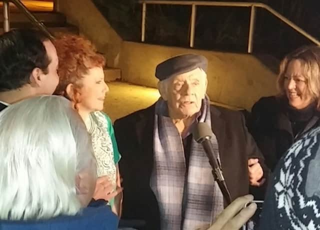 Jerry Stiller during his visit to Hastings-on-Hudson on Wednesday, Dec. 30.