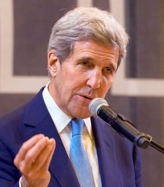 Secretary of State John Kerry speaking at the American University of Central Asia.