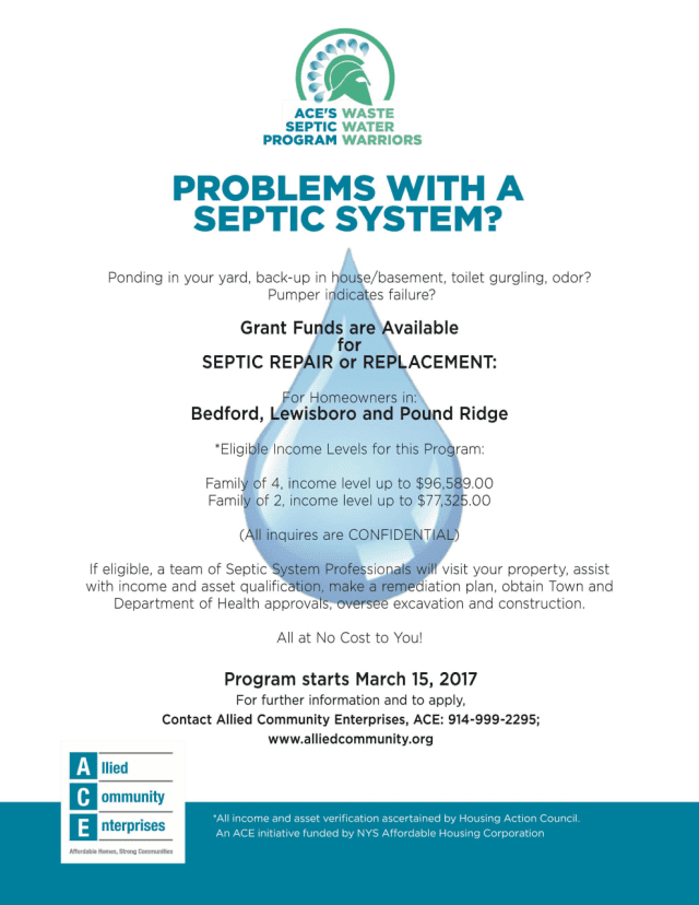 Allied Community Enterprises (ACE) announced that it has launched a septic repair/replacement program.