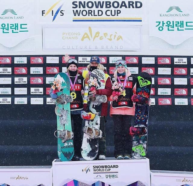 Julia Marino, left, of Westport, finished second last weekend in an international snowboarding competition in South Korea.